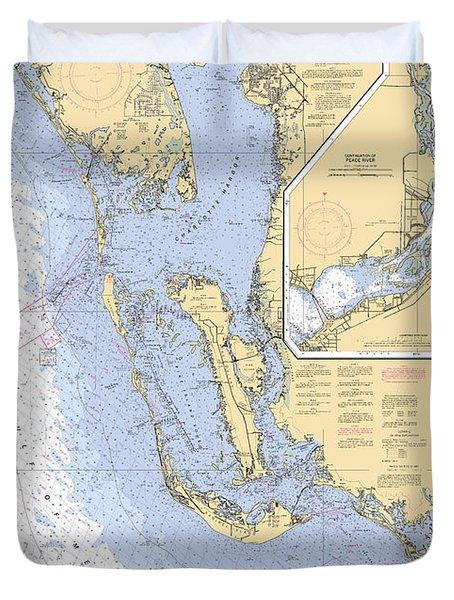 Estero Bay To Lemon Bay, Noaa Chart 11426 Duvet Cover
