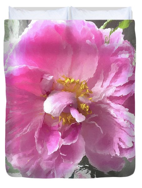 Ethereal Pink Impressionistic Watercolor Peony - Pink Watercolor Impressionistic Pink Peonies Floral Duvet Cover