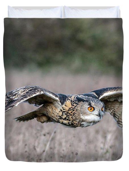 Eurasian Eagle Owl In Flight Duvet Cover