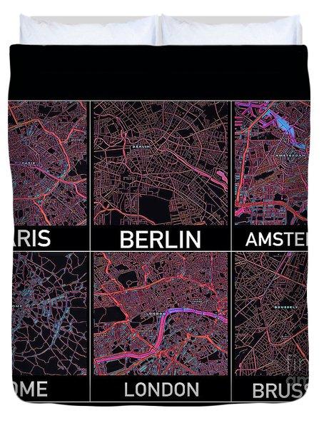 European Capital Cities Maps Duvet Cover