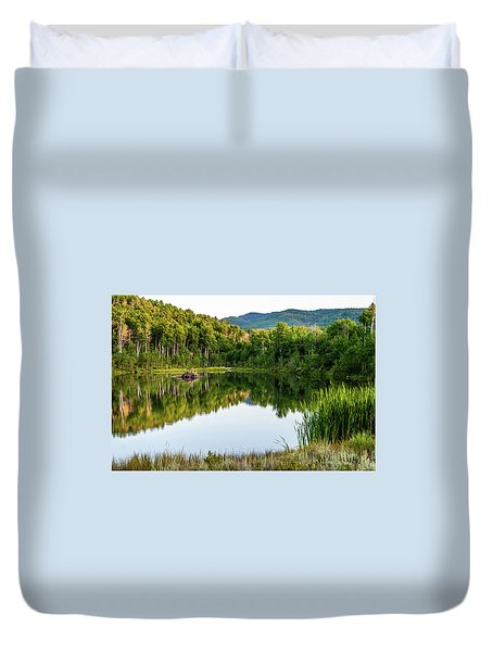 Duvet Cover featuring the photograph Evening At Ivie Pond by TL Mair