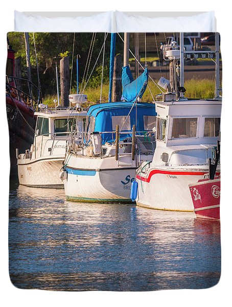 Evening At The Harbor Duvet Cover