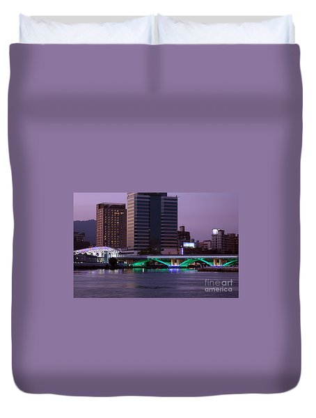 Evening View Of The Love River And Illuminated Bridge Duvet Cover