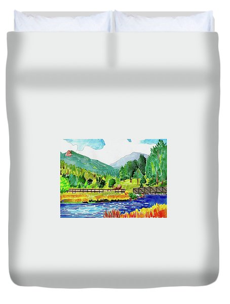 Duvet Cover featuring the painting Evergreen Lake Spring Watercolor by Dan Miller