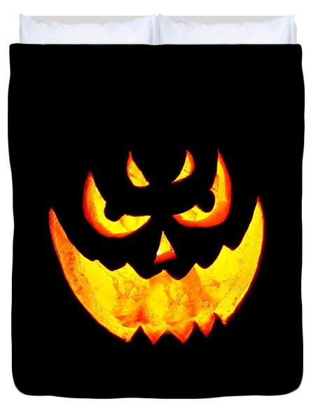 Evil Glowing Pumpkin Duvet Cover