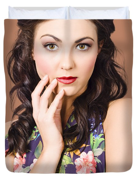 Face Of A Female Beauty With Flawless Makeup  Duvet Cover