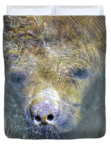 Face Of The Manatee Duvet Cover