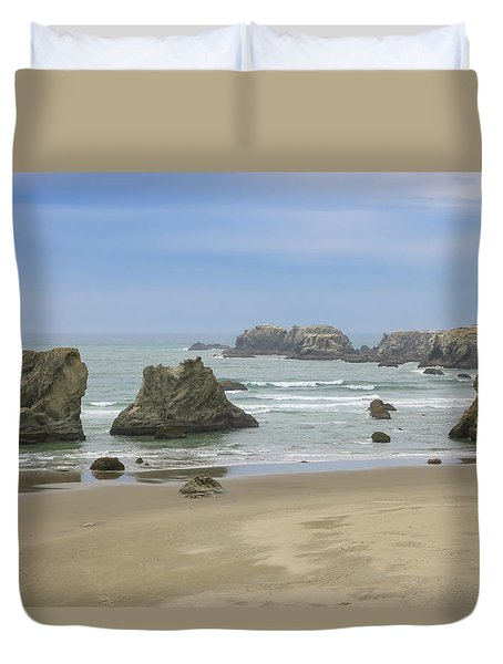 Duvet Cover featuring the photograph Face Rock Trail, Bandon Beach, Oregon by Dawn Richards