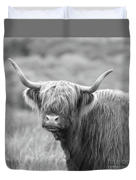 Face-to-face With A Highland Cow - Black And White Duvet Cover