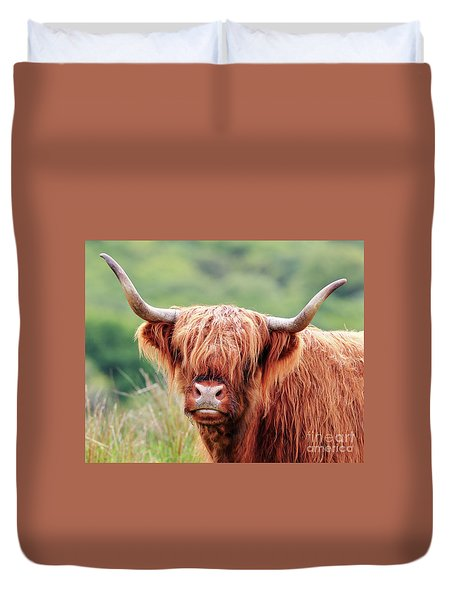 Face-to-face With A Highland Cow Duvet Cover