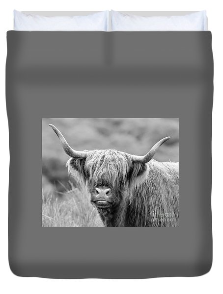 Face-to-face With A Highland Cow - Monochrome Duvet Cover