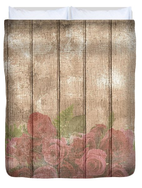 Faded Red Country Roses On Wood Duvet Cover