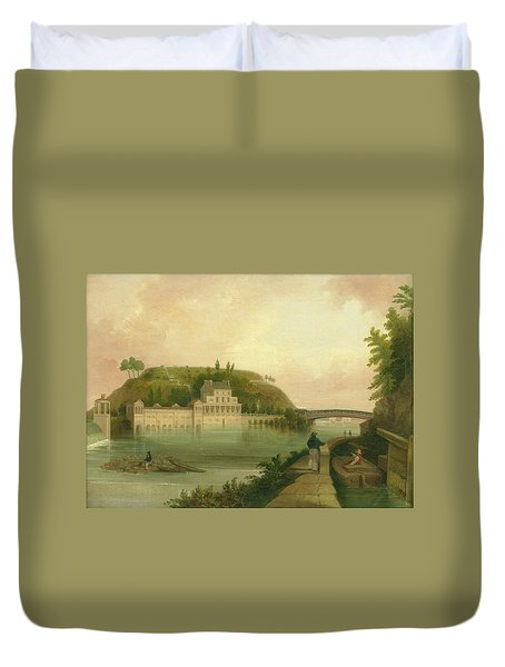 Fairmount Waterworks About 1838 Duvet Cover