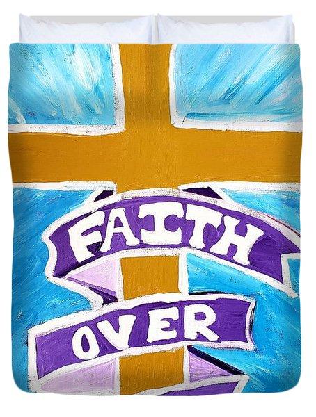 Faith Over Fear Cross  Duvet Cover