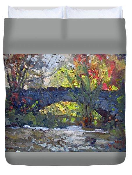 Fall At Stone Bridge In Goat Island Duvet Cover
