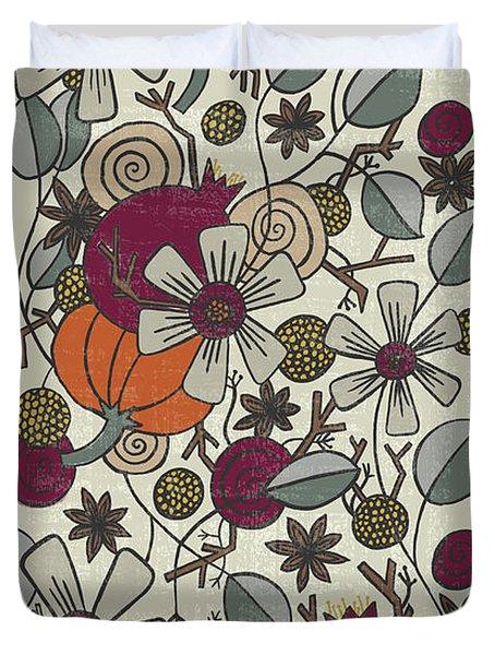 Fall Botanical Art Cream Background Duvet Cover