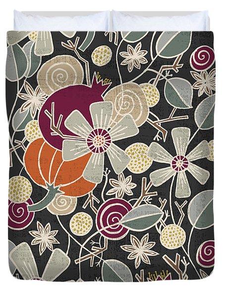 Fall Botanical Art Black Background Duvet Cover