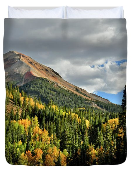 Fall Color Aspens Beneath Red Mountain Duvet Cover