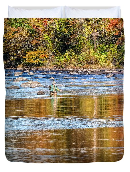 Fall Fishing Reflections Duvet Cover