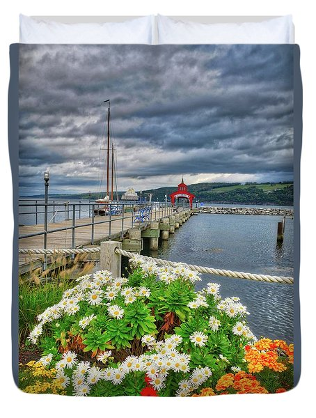 Duvet Cover featuring the photograph Fall Flowers At Seneca Lake Marina by Lynn Bauer