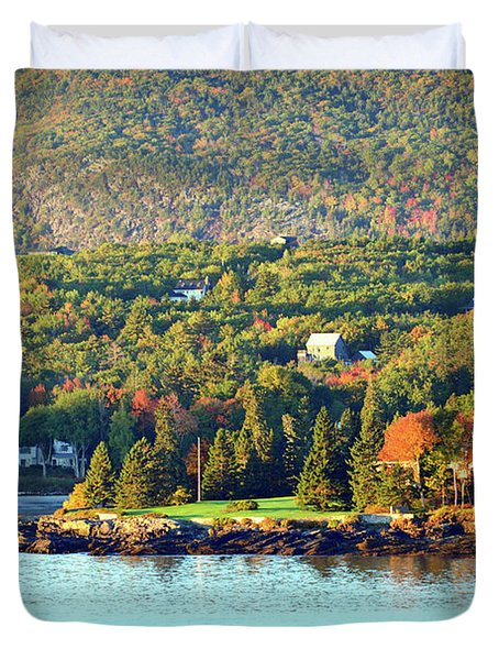 Duvet Cover featuring the photograph Fall Foliage In Bar Harbor by Bill Swartwout Fine Art Photography