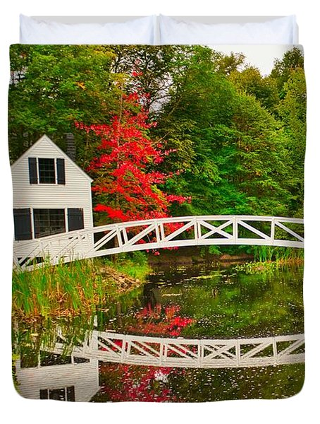 Fall Footbridge Reflection Duvet Cover