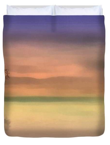 Duvet Cover featuring the painting Fall Reflections by Harry Warrick