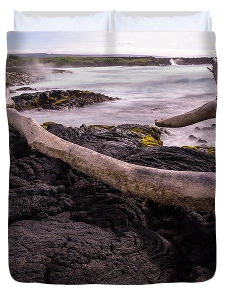 Fallen Tree At Punalu'u Beach Duvet Cover