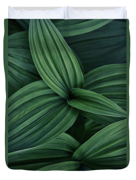 Duvet Cover featuring the photograph False Hellebore Plant Abstract by Nathan Bush