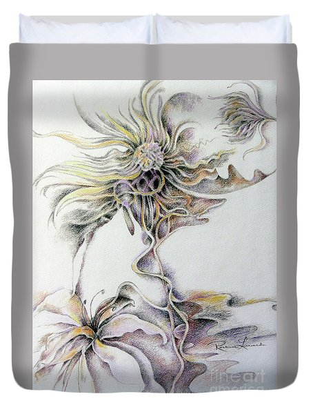 Duvet Cover featuring the drawing Fantasy by Rosanne Licciardi