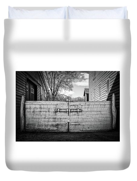 Duvet Cover featuring the photograph Farm Gate by Steve Stanger