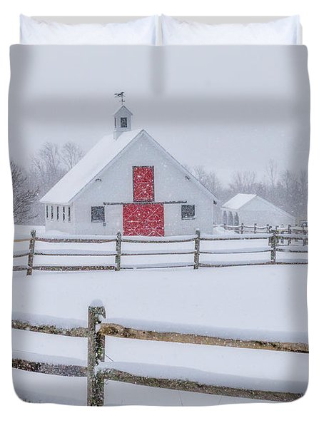 Farm In The Snow Duvet Cover