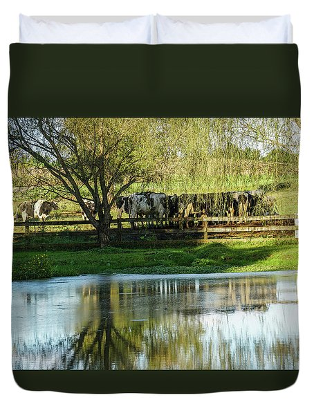 Farm Pond And Cows Duvet Cover