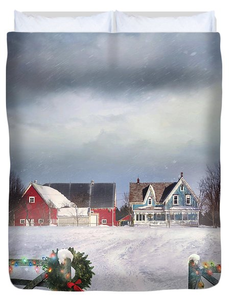 Farmhouse On Cold Winter Day Duvet Cover