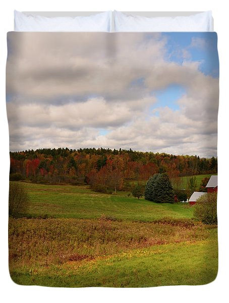 Duvet Cover featuring the photograph Farmland In Autumn by Angie Tirado