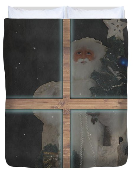 Father Christmas In Window Duvet Cover