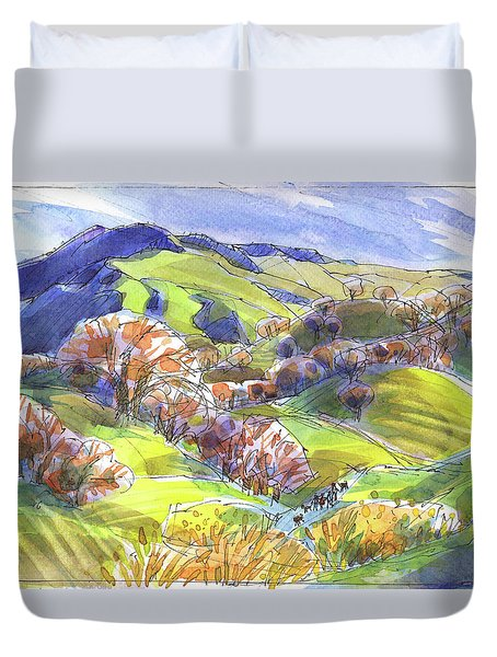 Duvet Cover featuring the painting February Landscape With Mount Diablo by Judith Kunzle