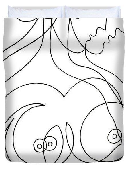 Female Naked Figure Duvet Cover