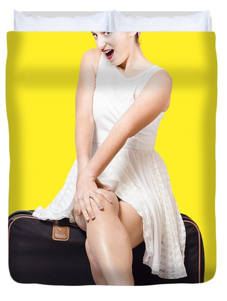 Female Pinup Travelling Tourist Sitting On Luggage Duvet Cover