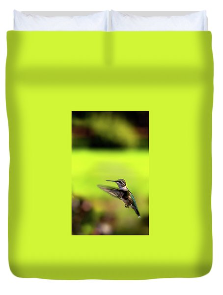 Duvet Cover featuring the photograph Female Ruby Wings Forward by Onyonet  Photo Studios