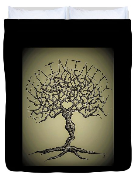 Duvet Cover featuring the drawing Femininity Love Tree B/w by Aaron Bombalicki