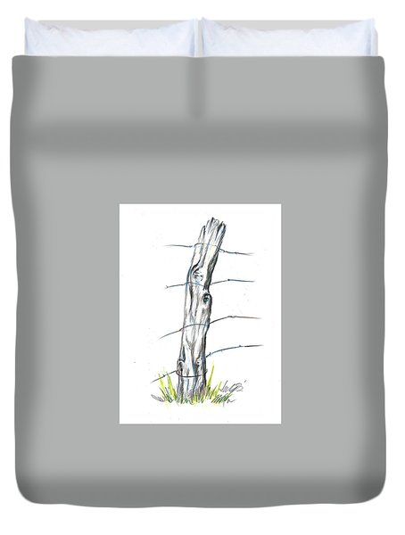 Fence Post Colored Pencil Sketch  Duvet Cover