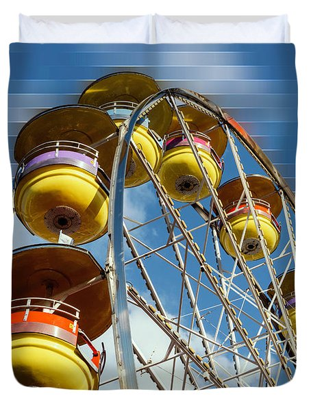 Ferris Wheel On Mosaic Blurred Background Duvet Cover