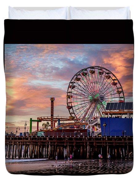 Ferris Wheel On The Pier - Square Duvet Cover