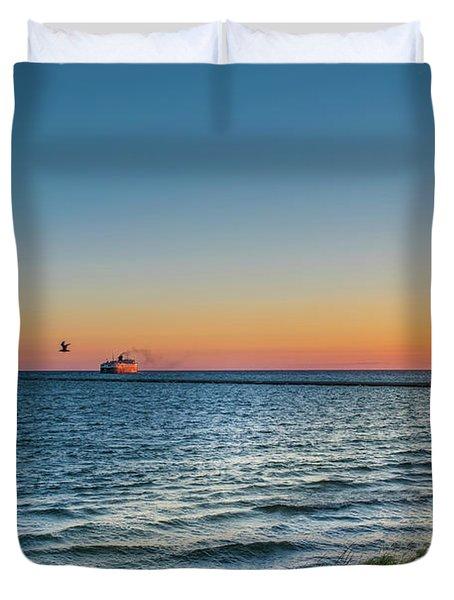 Ferry Going Into Sunset Duvet Cover