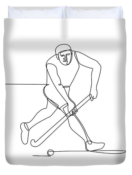 Field Hockey Player Continuous Line Duvet Cover