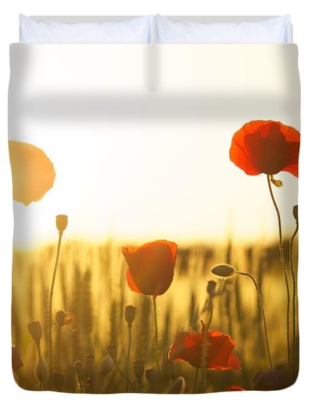 Field Of Poppies At Dawn Duvet Cover