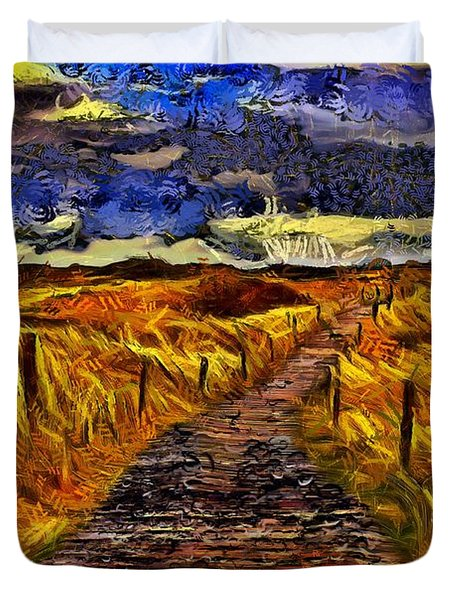 Duvet Cover featuring the painting Fields Of Gold by Harry Warrick