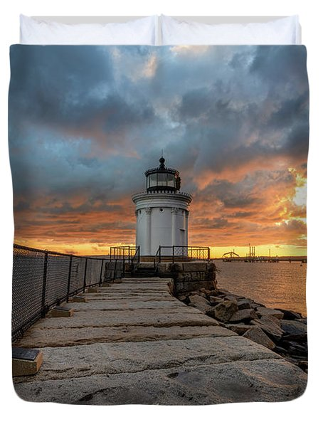 Fiery Skies At Bug Light Duvet Cover