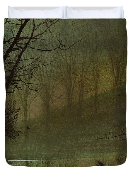 Figure By A Moonlit Lake Duvet Cover